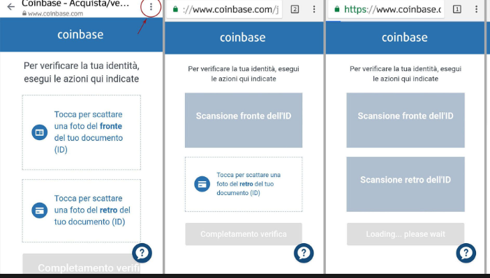 coinbase registrazione documento