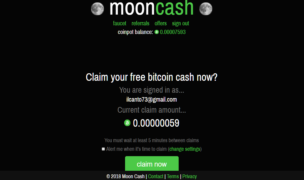 mooncash dashboard