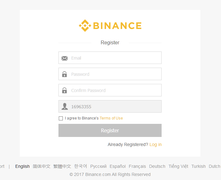 binance registrazione