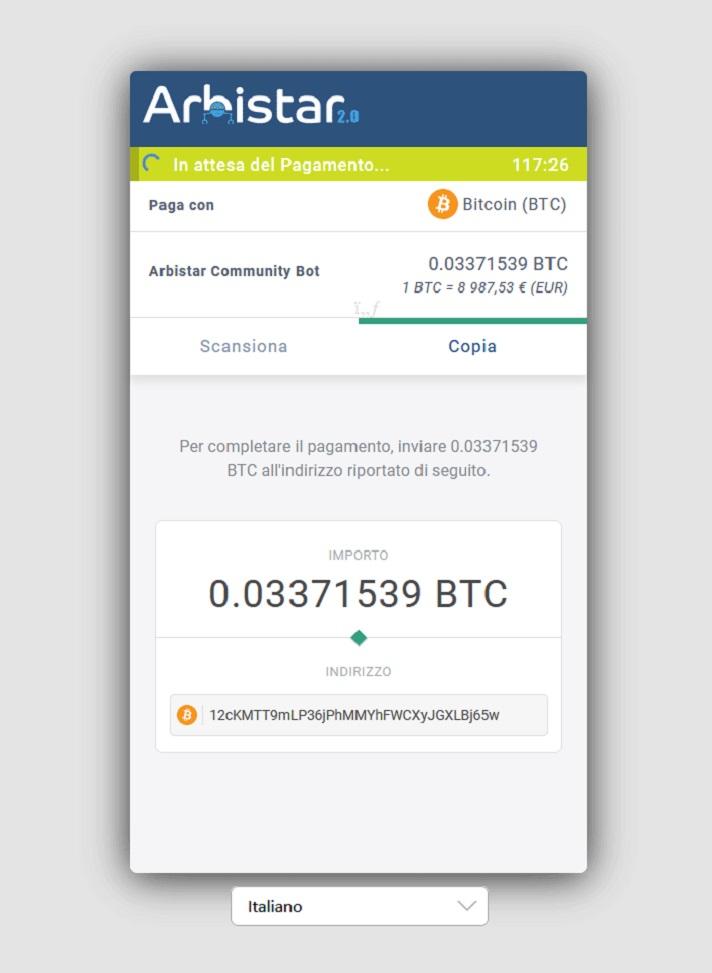 ArbiStar-Versamento-Bitcoin