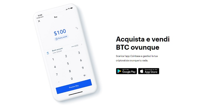 acquista bitcoin su coinbase