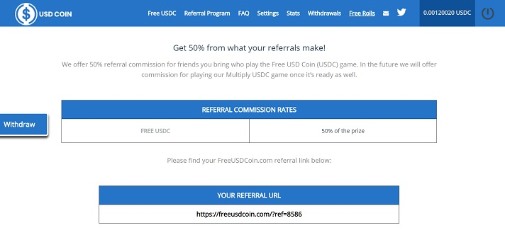 referral free usdcoin