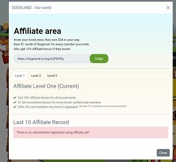 dogeland affiliate area